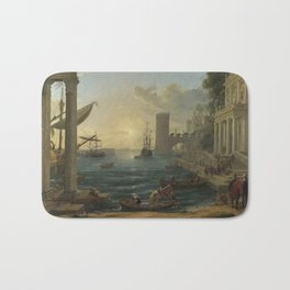 Seaport with the Embarkation of the Queen of Sheba by Claude Bath Mat