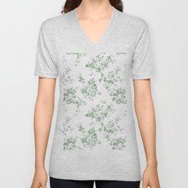 Elegant vintage green white roses shabby floral Unisex V-Neck