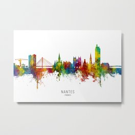 Nantes France Skyline Metal Print