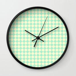 Cream Yellow and Magic Mint Green Diamonds Wall Clock