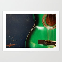 Green guitar Art Print