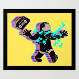 Boombox Astronaut Alien Chestburster Parody Art Print