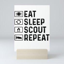 Scouts Gift Eat Sleep Scout Mini Art Print