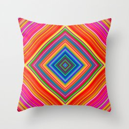 Rainbow Abstract Psychedelic Neon Dawn Triangle Design - Pink and  Orange Throw Pillow