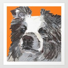 Border Collie printed from an original painting by Jiri Bures Art Print