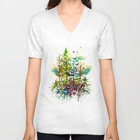 jungle V-neck T-shirts featuring Jungle by Sah Matsui