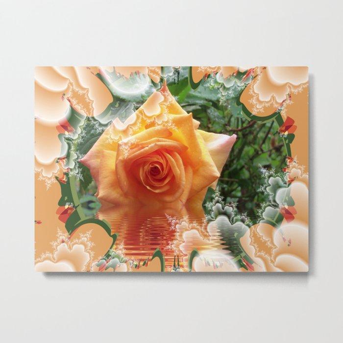 A Little Orange Rose Metal Print