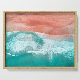 The Break - Turquoise Sea Pastel Pink Beach Serving Tray