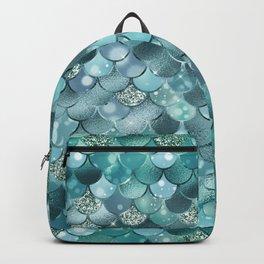 Mermaid Scales Aqua Turquoise Mermaid Pattern Backpack