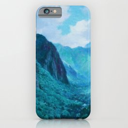 Iao Valley, Maui, Hawaiian landscape pinging by D. Howard Hitchcock iPhone Case