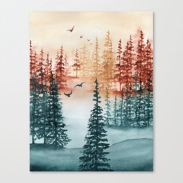 """""""Tri-color Forest"""" landscape watercolor painting Canvas Print"""