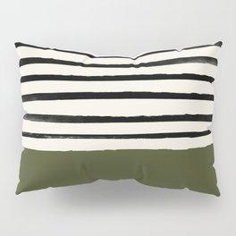 Olive Green x Stripes Pillow Sham