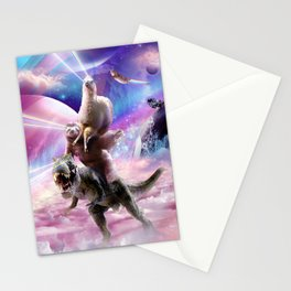 Laser Eyes Space Llama On Sloth Dinosaur - Rainbow Stationery Cards