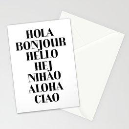 HOLA BONJOUR HELLO HEJ NIHAO ALOHA CIAO text design Stationery Cards