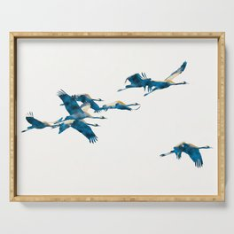 Beautiful Cranes in white background #decor #society6 #buyart Serving Tray