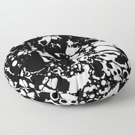 Black and white contrast ink spilled paint mess Floor Pillow