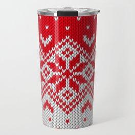 Winter knitted pattern 10 Travel Mug