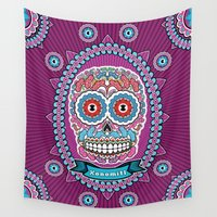 mexican Wall Tapestries featuring Mexican Skull by Xonomitl