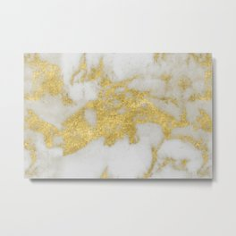 Marble - Yellow Gold Marble Foil on White Pattern Metal Print
