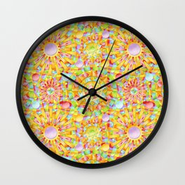 Circus Rainbow Mandala Wall Clock
