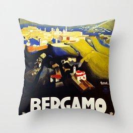 1920s Bergamo Italy travel Throw Pillow