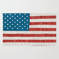 novelty Area & Throw Rugs featuring USA by Bianca Green