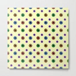 Eyeball Pattern on Yellow Metal Print