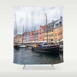 Nyhavn waterfront in Copenhagen Shower Curtain