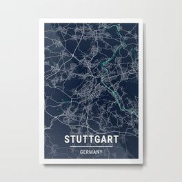 Stuttgart Blue Dark Color City Map Metal Print