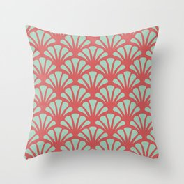 Coral and Mint Green Deco Fan Throw Pillow
