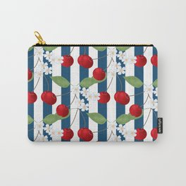 Seamless pattern with cherry and flowers on striped background Carry-All Pouch