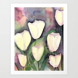 White Tulips at night Art Print