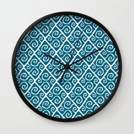 Mid Century Modern Diamond Swirl Pattern Peacock Blue Wall Clock
