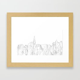 Galway, Ireland Skyline B&W - Thin Line Framed Art Print