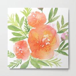 Peachy Keen Watercolor floral  Metal Print