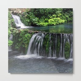 River waterfall nature landscape Metal Print