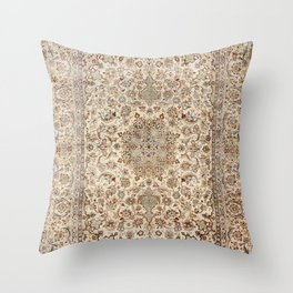 Isfahan Central Persia Old Century Authentic Colorful Dusty Blue Tan Distressed Vintage Patterns Throw Pillow