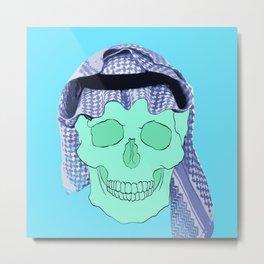 Blue Arabian Skull Metal Print