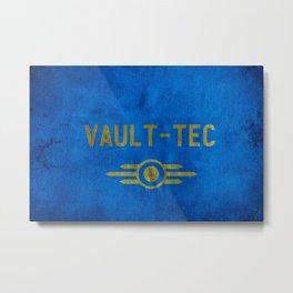 Fallout Grungy Vault-Tec Fabric Metal Print