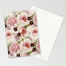 Small Vintage Peony and Ipomea Pattern - Smelling Dreams Stationery Cards