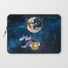 Vintage hot air ballon in a starry galaxy night sky Laptop Sleeve