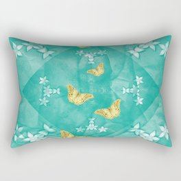 Gold butterflies and silver flowers on a textured teal mandala Rectangular Pillow