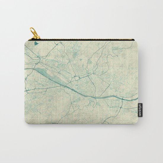 Florence Map Blue Vintage Carry-All Pouch
