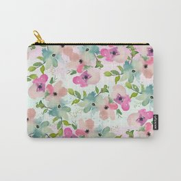 Modern teal pink watercolor hand painted floral Carry-All Pouch