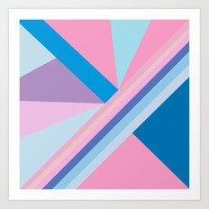 Trendy modern pink blue abstract pattern  Art Print