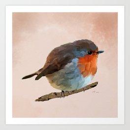 Round Red Robin Bird Art Art Print