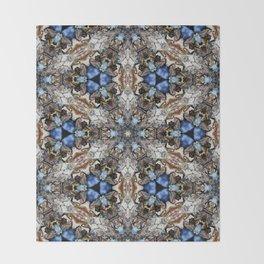 River Birch bark with blue sky kaleidoscope Throw Blanket