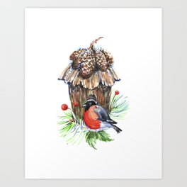 Bullfinch in the background of a cozy bird house. Art Print