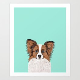 Papillon cute dog fluffy puppy funny valentine love pet gift for dog person with papillon dog Art Print