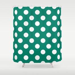 Generic viridian - green - White Polka Dots - Pois Pattern Shower Curtain